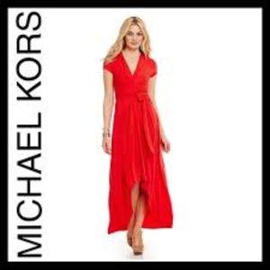 MICHAEL Michael Kors High-Low Faux-Wrap Dress, RED
